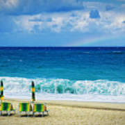 Deck Chairs And Distant Rainbow Art Print