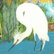 Deco Egret Art Print
