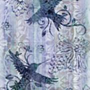 Deco Hummingbird Blue Art Print