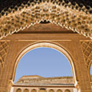Decorative Moorish Architecture In The Nasrid Palaces At The Alhambra Granada Spain Art Print