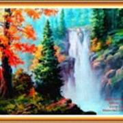 Deep Jungle Waterfall Scene L A With Alt. Decorative Ornate Printed Frame. Art Print