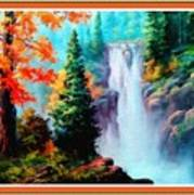 Deep Jungle Waterfall Scene L B With Decorative  Ornate Printed Frame. Art Print