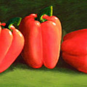 Deep Red Peppers Art Print