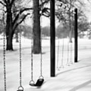 Deep Snow & Empty Swings After The Blizzard Print by Trina Dopp Photography