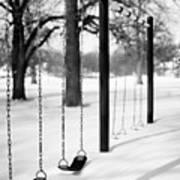 Deep Snow & Empty Swings After The Blizzard Art Print