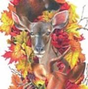 Deer And Fall Leaves Art Print