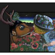 Deer And Girl Art Print