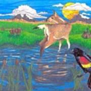 Deer Blessing Art Print