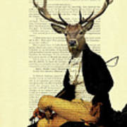 Deer Regency Portrait Art Print