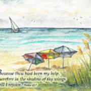 Deerfield Beach Umbrellas Psalm 63 Art Print