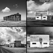 Defunct Country Taverns On North Dakota Prairie Composite Square Art Print