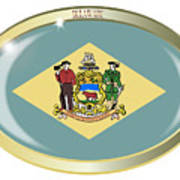 Delaware State Flag Oval Button Art Print