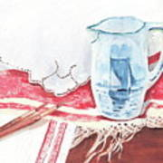 Delft And Linens Art Print by Kathryn B