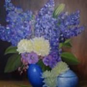 Delphiniums In Blue Vase Art Print