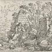 Democritus Mediterend, Jonas Umbach, 1634 - 1693 Art Print