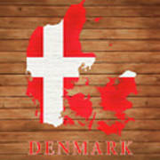 Denmark Rustic Map On Wood Art Print