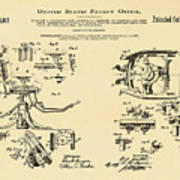 Dentists Chair Patent 1892 In Sepia Art Print