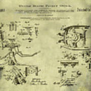 Dentists Chair Patent 1892 In Vintage  Art Print