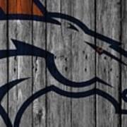 Denver Broncos Wood Fence Art Print