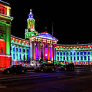 Denver City County Building Holiday Lighting. Art Print