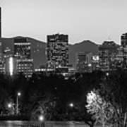 Denver Colorado Skyline Wide Angle Black And White Art Print
