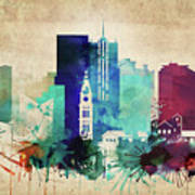 Denver Colorado Vintage Skyline Art Print