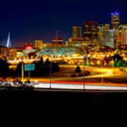 Denver Night Skyline Art Print by James O Thompson