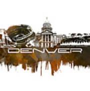 Denver Skyline City Brown Art Print