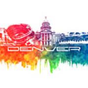 Denver Skyline City Color Art Print