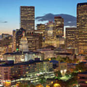 Denver Skyline Evening Panoramic Art Print
