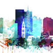 Denver Watercolor Skyline Art Print