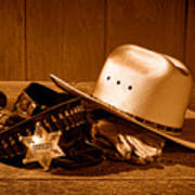 Deputy Sheriff Gear - Sepia Art Print