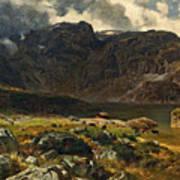 Der Hintere Murgsee. St. Galler Alpen. 1878 Art Print