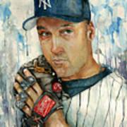 Derek Jeter Art Print by Michael  Pattison