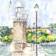 Desenzenzo Lighthouse And Marina In Italy Art Print