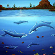 Desert Dolphins Close  Art Print by Lance Headlee