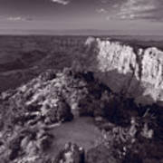 Desert View At Grand Canyon Arizona Bw Art Print