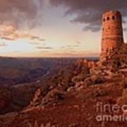 Desert Watchtower At Sunset Art Print