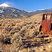 Deserted Car With Cow Skeleton, Great Art Print