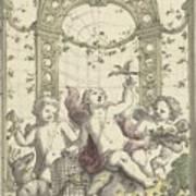 Design For A Gazebo Of Green Trellis, In Which Three Putti Play With Animals, Daniel Marot II, 170 Art Print