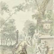Design For A Room Piece Dorinda Returns Silvio His Dog, Dionys Van Nijmegen, 1715 - 1798 Art Print