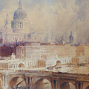 Design For The Thames Embankment, View Looking Downstream Art Print