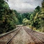 Destination Unknown, Travel Journey Train Tracks Art Print