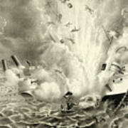Destruction Of The Us Battleship Maine, 15th February, 1898 Art Print