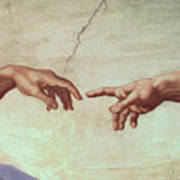 Detail From The Creation Of Adam Art Print by Michelangelo