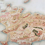 Detail Of A Map Of Rhode Island During French Occupation Art Print