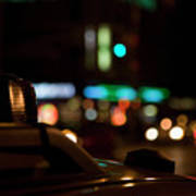 Detail Of A Taxi At Night, New York City, Usa Art Print by Frederick Bass