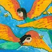 Detail Of Bird People Little Green Bee Eaters Of Upper Egypt 1 Art Print