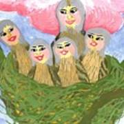Detail Of Bird People The Chaffinch Family Nest Art Print