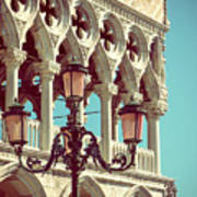 Detail Of Lamp And Columns In Venice. Vertically.  Art Print